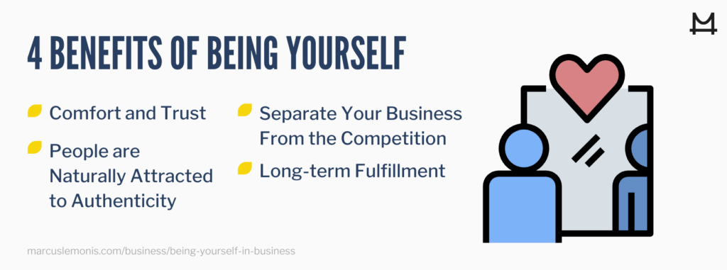 List of four benefits of being yourself