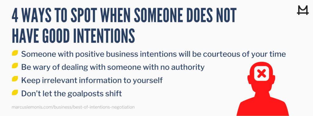List of four ways to spot bad intentions