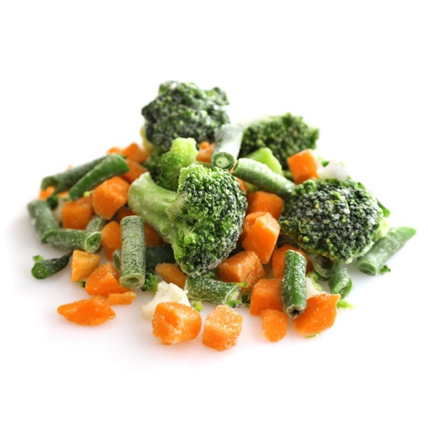 image of frozen vegetables on a white table