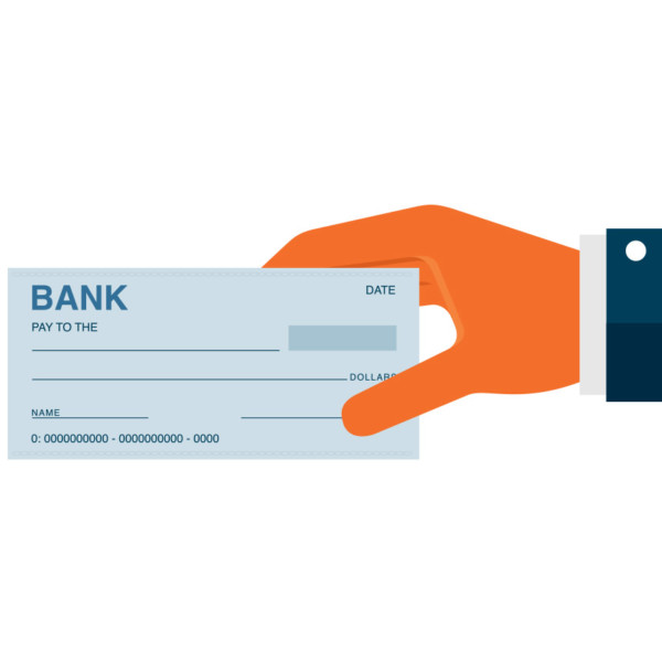 Hand holding a blank check