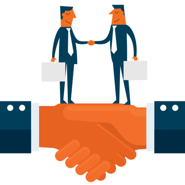 Image of two people shaking hands on a larger handshake.
