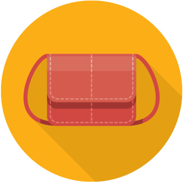Image of a handbag in a yellow circle.
