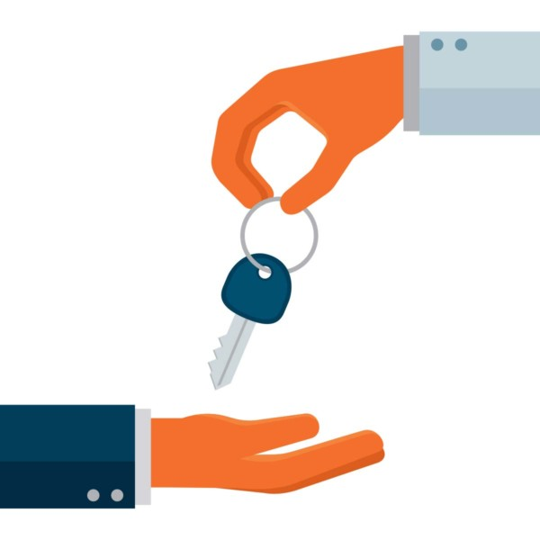Image of a hand giving a key to another hand.