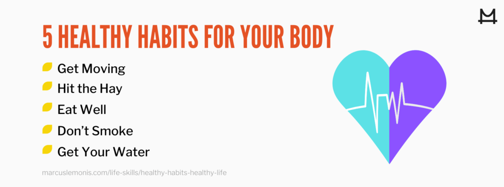 List of five healthy habits for our body.