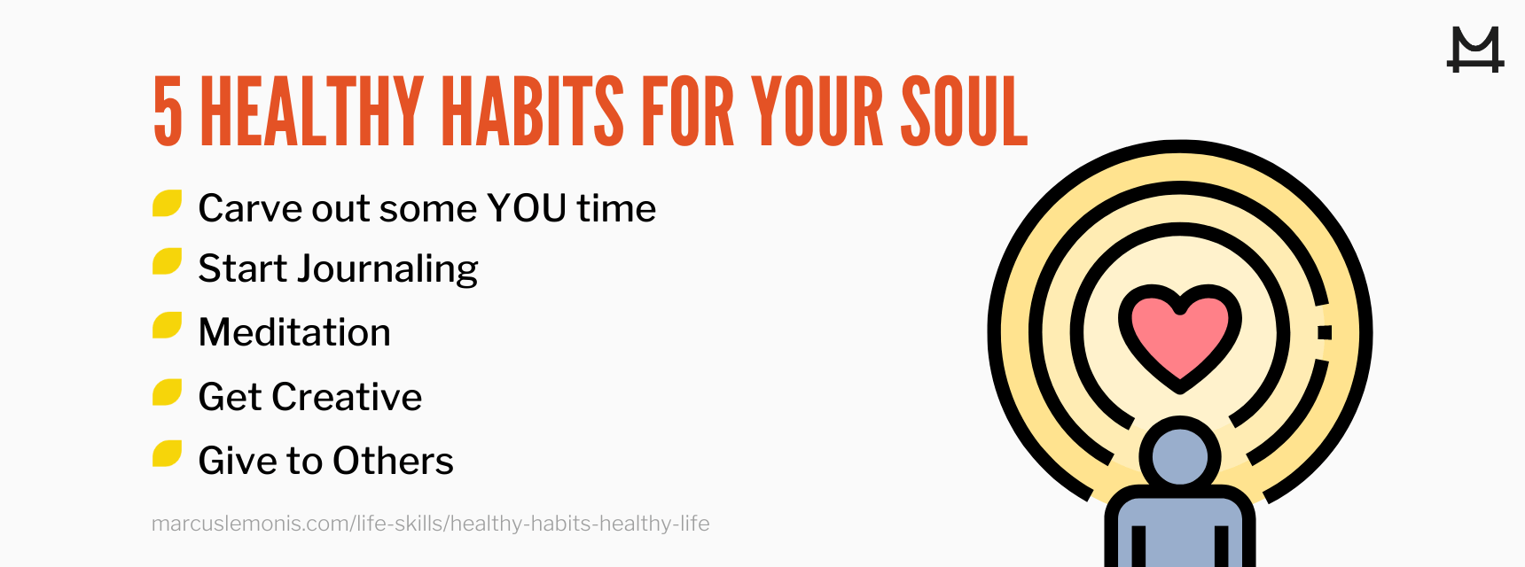 List of five healthy habits for our soul.