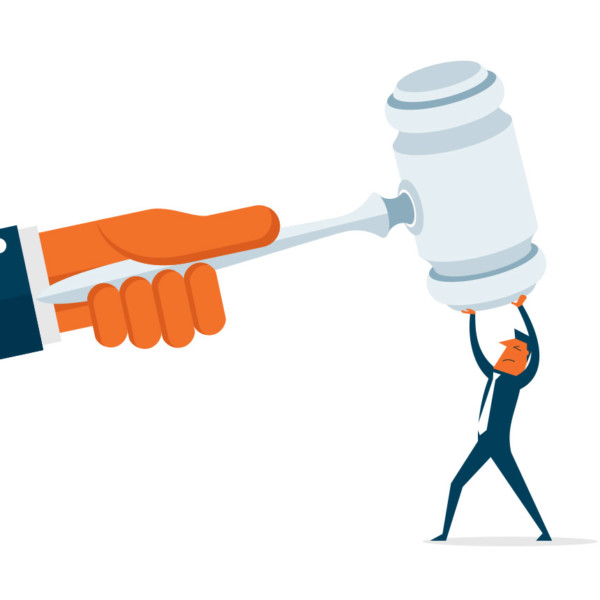 Image of a large hand with a gavel while a smaller person holds up one end.