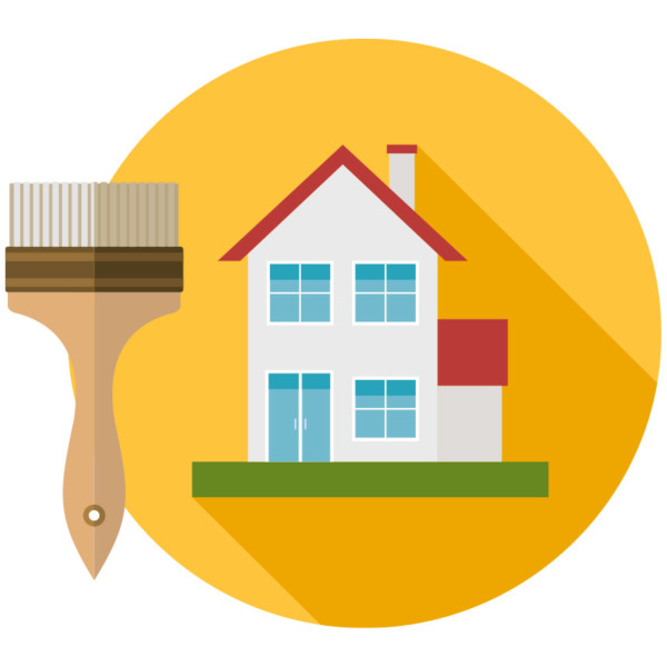 House in a yellow circle and a paintbrush