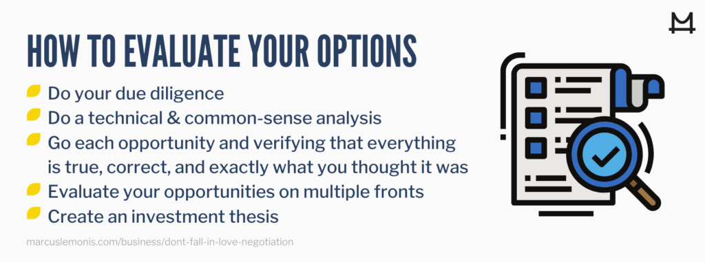 List of ways on how to evaluate options.