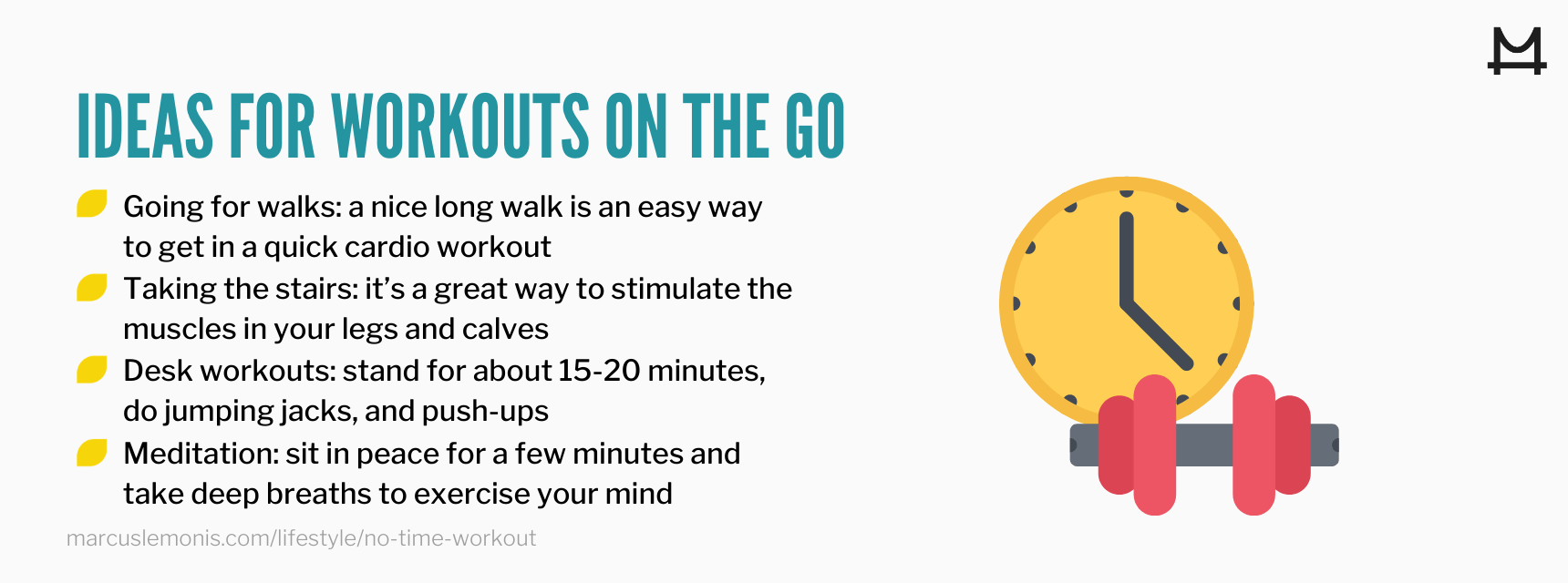 List of ideas for fun workouts on the go