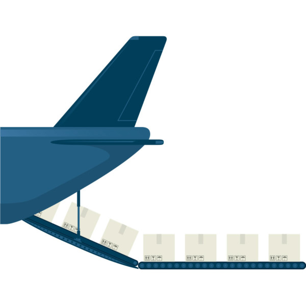 Image of a plane being loaded up with boxes.