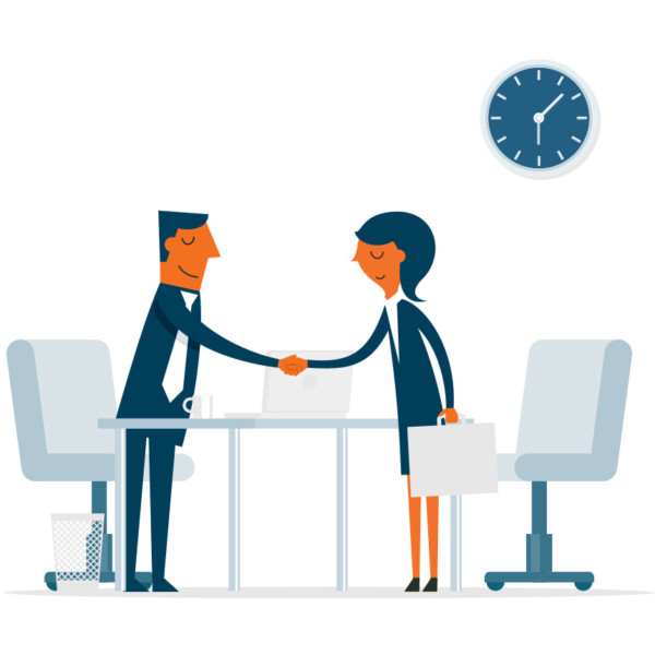 Image of two people shaking hands over a desk.