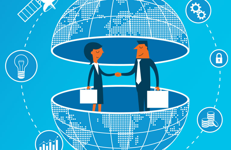Man and woman making a deal online in globe