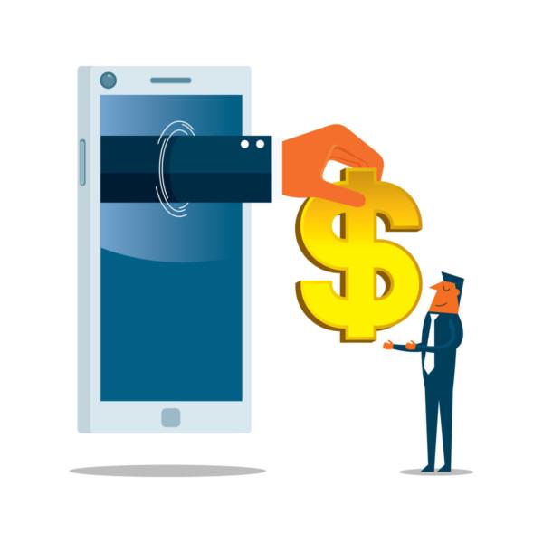 Man receiving money through a giant phone
