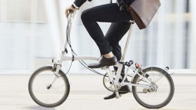 Man riding to work to get exercise