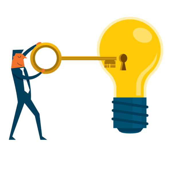 Man with a key to a great idea