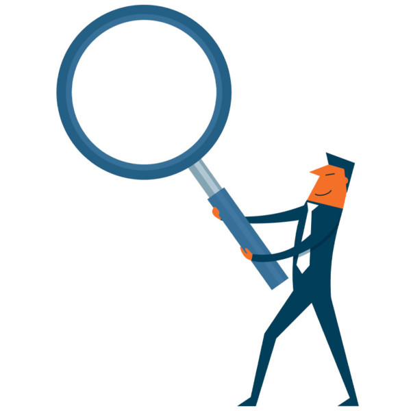 Man looking for ways to solve his problem with a large magnifying glass