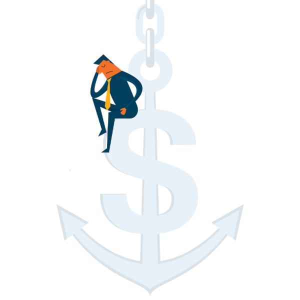 man sitting on a money anchor