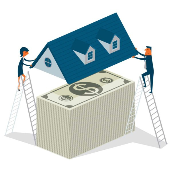 Image of two people placing a roof over a stack of cash
