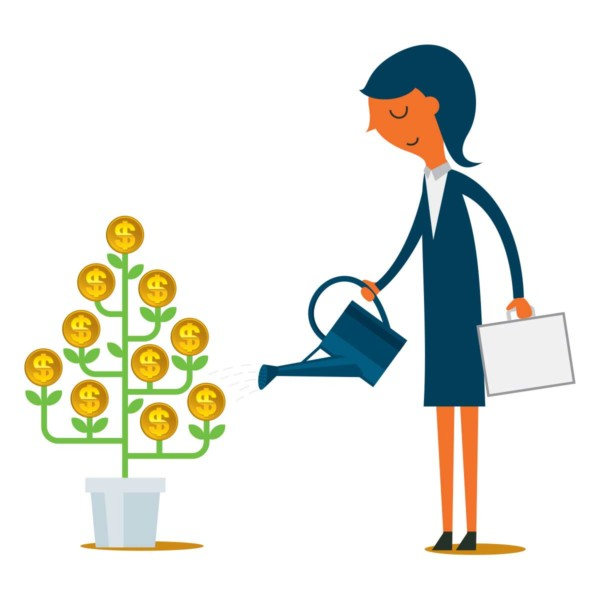 Image of someone watering a plant with dollar sign coins on it.