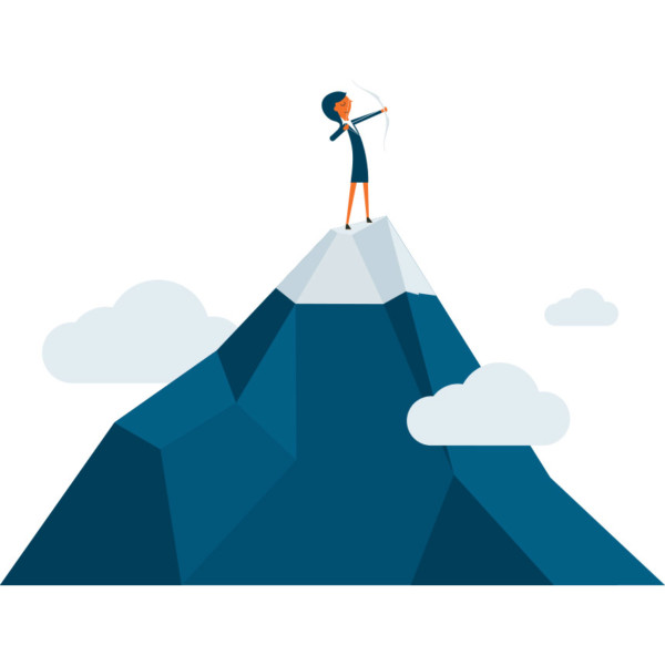 Image someone with a bow and arrow on top of a mountain.