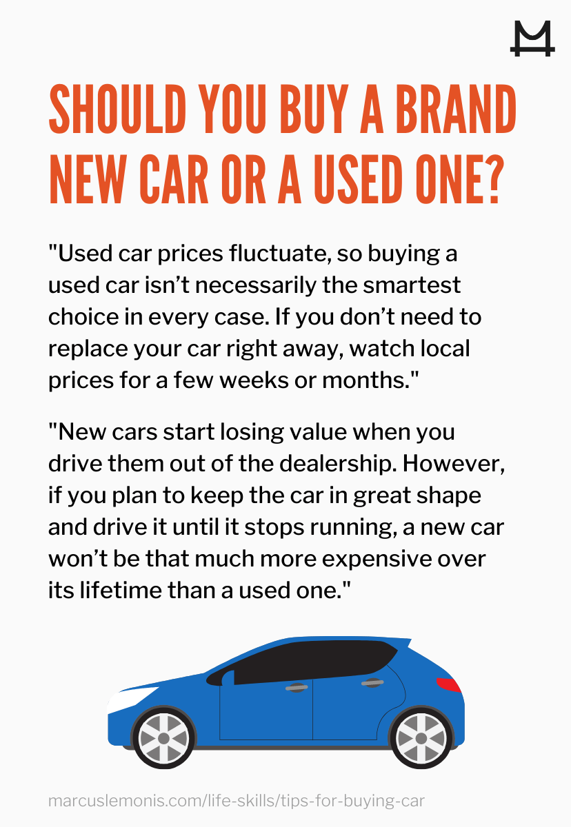 List of things to consider when choosing between a new and used car.