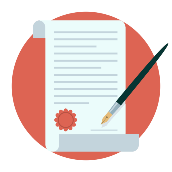 paper contract and quill on red background