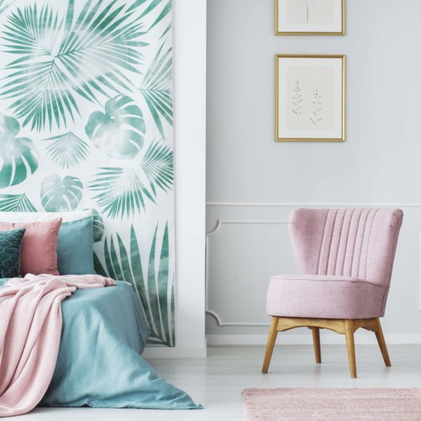 Pastel colored accent chair in 70s style home