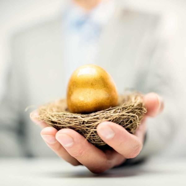 man holding a golden egg in a nest
