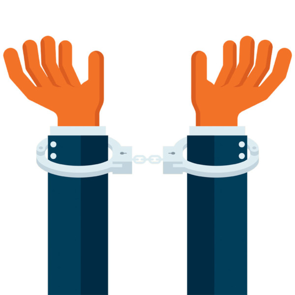 Person in handcuff after stealing from the partnership