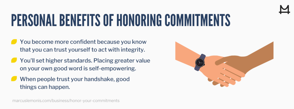 List of personal benefits that can come from honoring your commitments