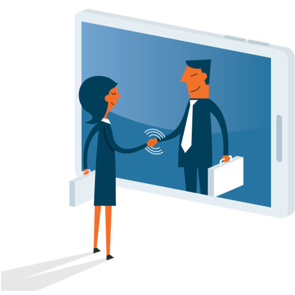 Image of two people shaking hands through a smartphone.