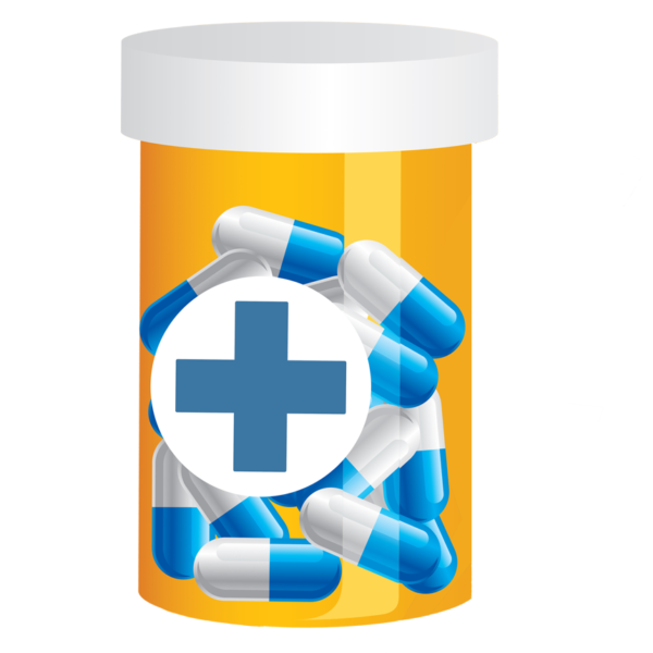pill bottle with many blue pills