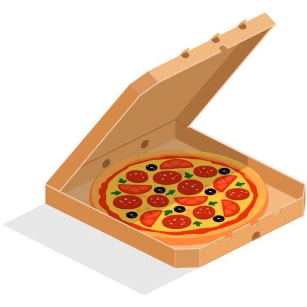 Image of a pizza in a pizza box.