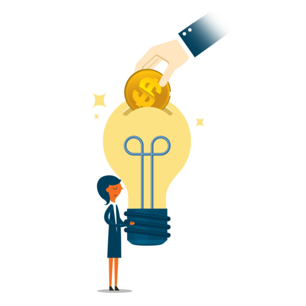 Putting money into a woman's new idea light bulb
