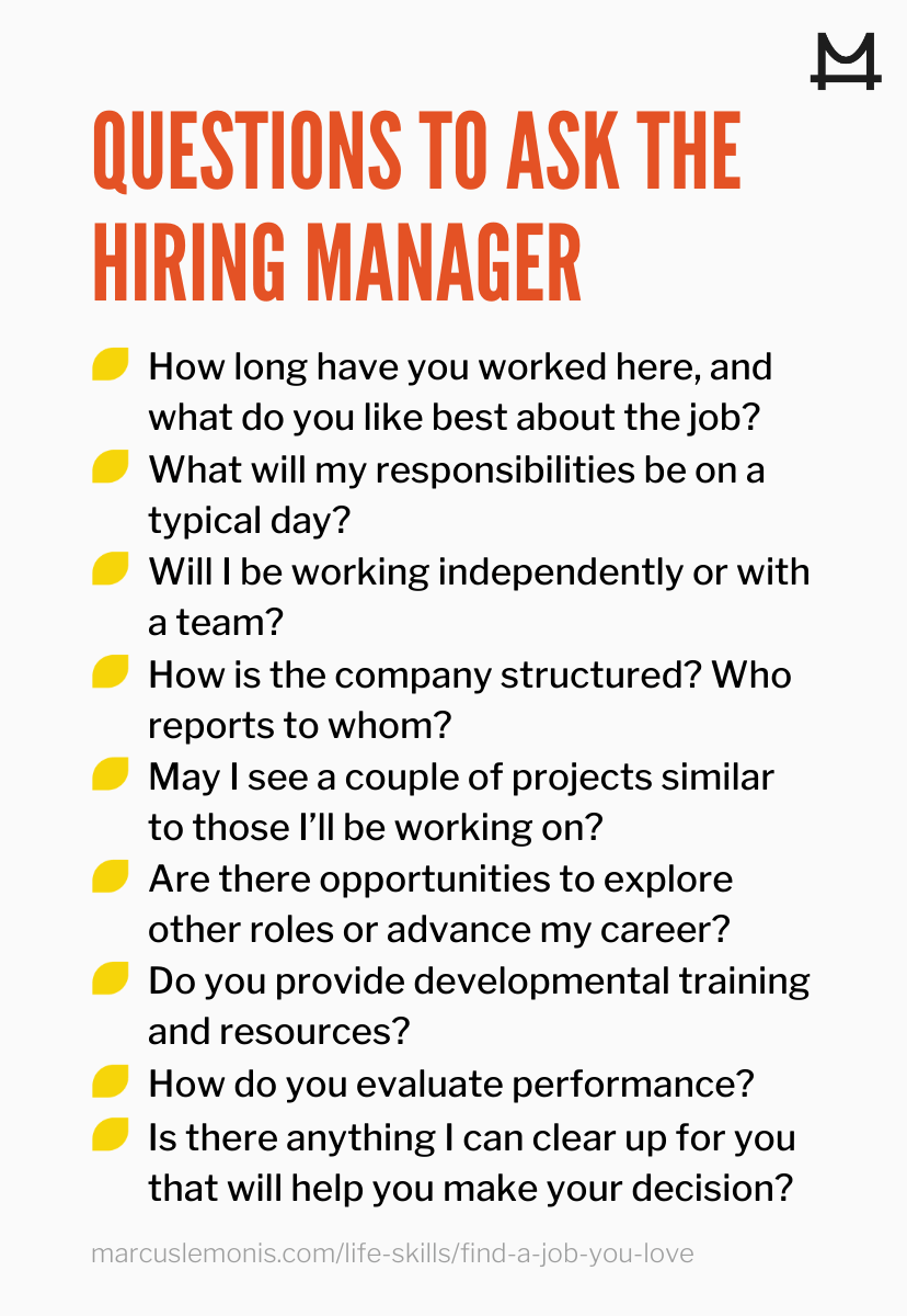 List of questions to ask a potential hiring manager