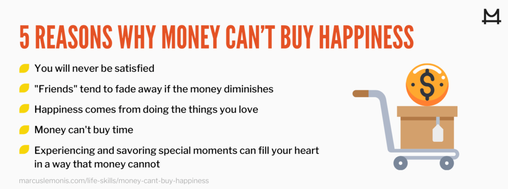 List of reasons why money can't buy happiness.