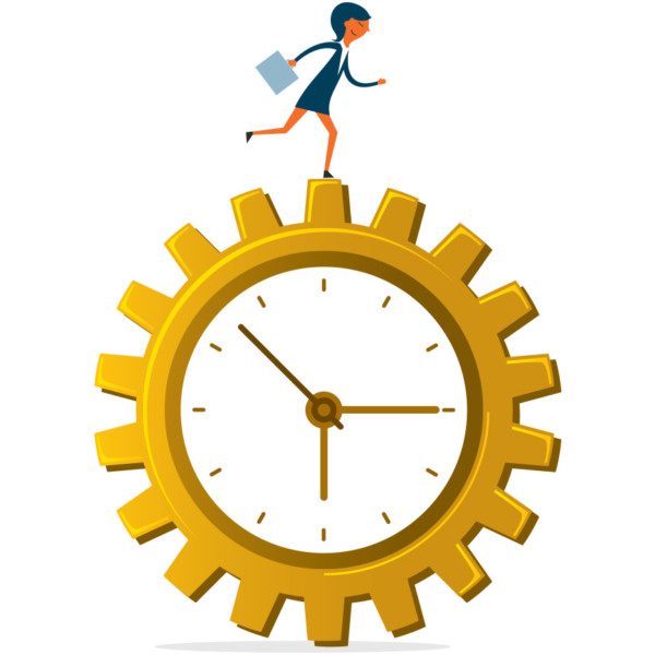 Image of someone running on a giant moving clock.