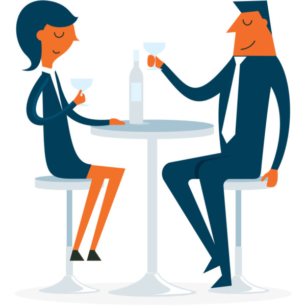 Image of two people sharing a drink.