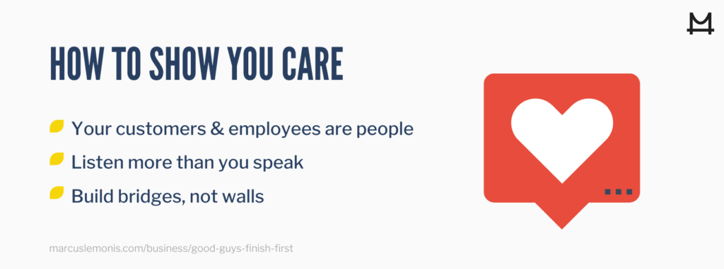 Ways to show you care in business.