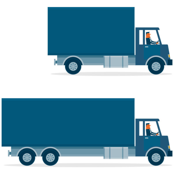 Image of a small truck and a larger truck.