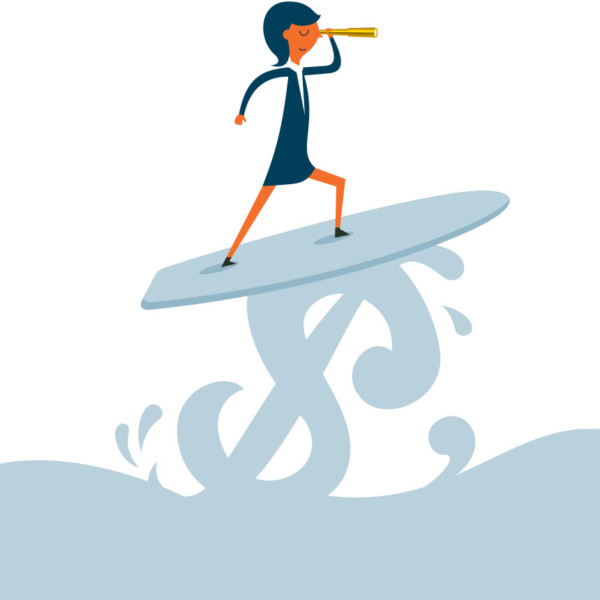 Woman surfing on wave of money