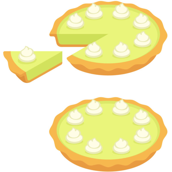 Taking a slice from one key lime pie out of two