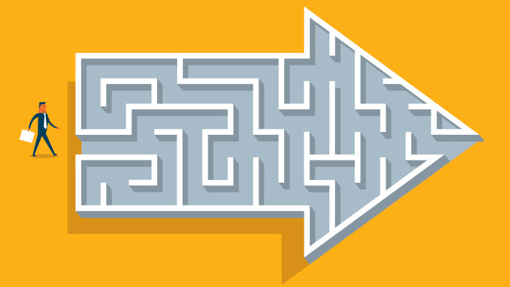 Image of a maze in the shape of an arrow.
