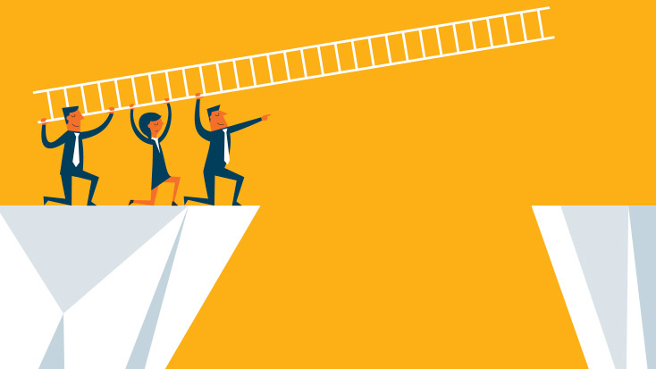 Image of three people using a ladder to bridge a gap between two structures.