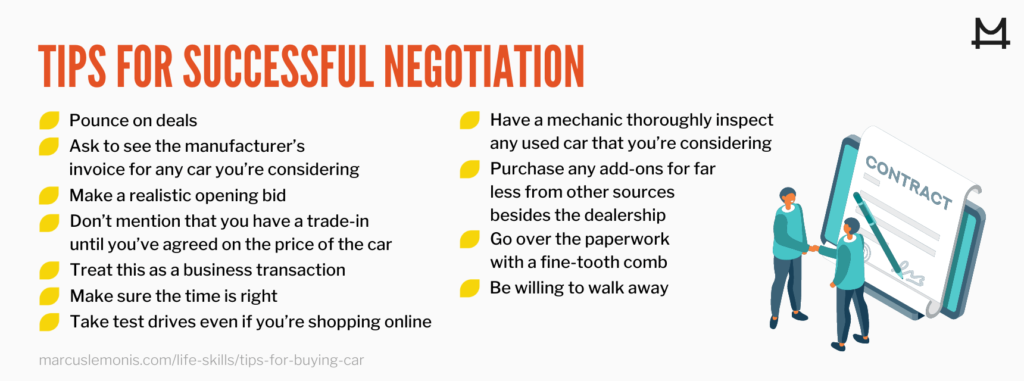 List of tips for a successful negotiation.
