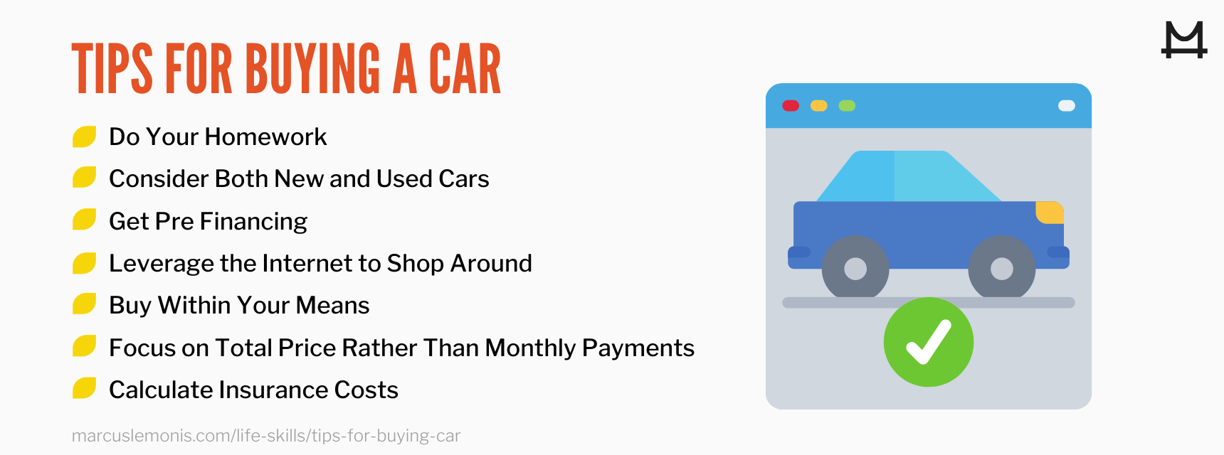 List of tips for buying a car.