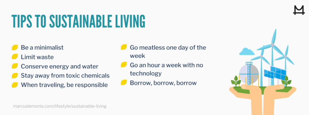 List of 9 tips for living a more sustainable lifestyle