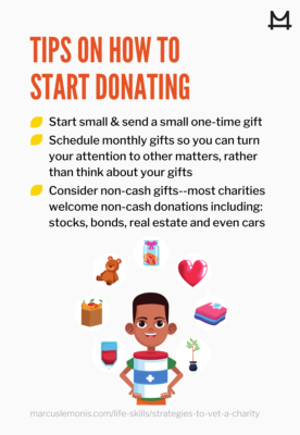 List of tips on how to start donating