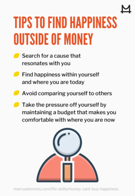List of tips to find happiness outside of money.