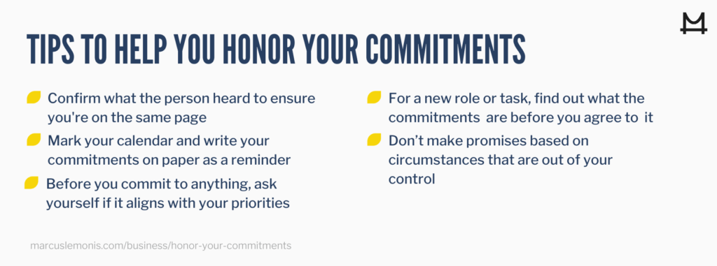 List of tips to help you honor your commitments